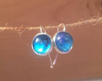 Clear Ocean - blue epoxy resin earrings on silver plated brass earwires