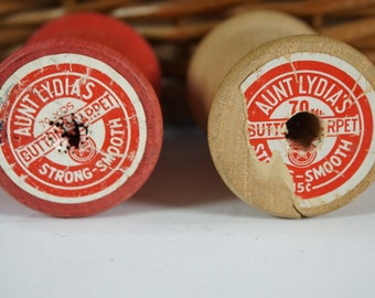 "Vintage Empty Wooden Thread Spools, 2 Aunt Lydia's American Thread Sewing Spools, Empty Craft Spools, 2"" H Spools, Free Ship"