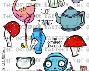 INSTANT DOWNLOAD Alice Elements Digital Collage Sheet