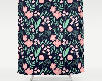 Shower Curtain Floral In Blush Pink Mint Green And Navy Blue Flowers