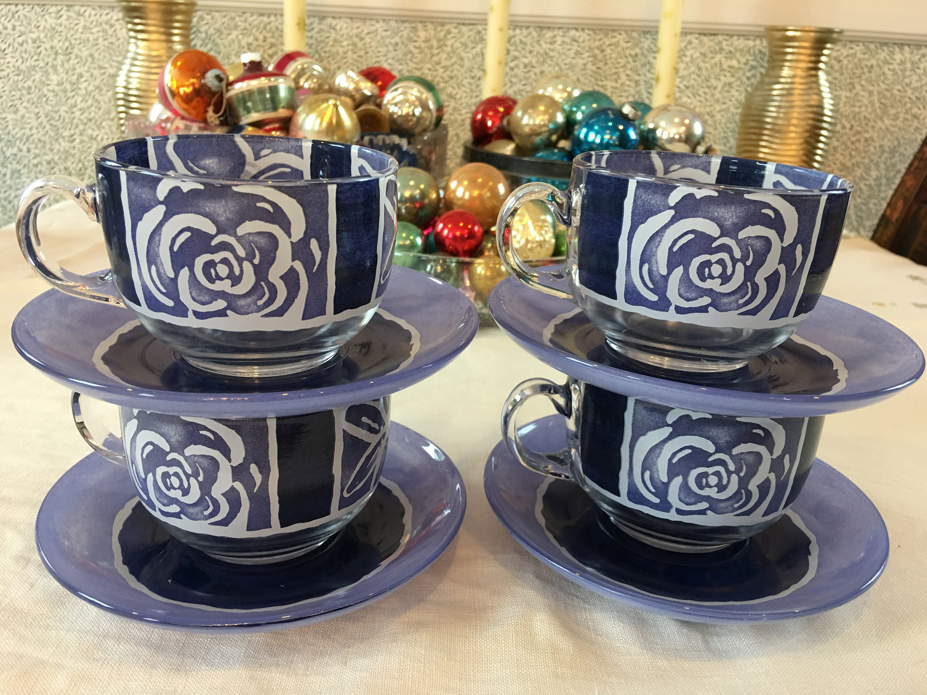 gallery photo gallery photo gallery photo ... & Arc Arcoroc France Purple Flowers Glass Cups and Saucers Table Charm ...