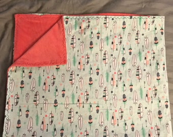 Mint and coral minky blanket
