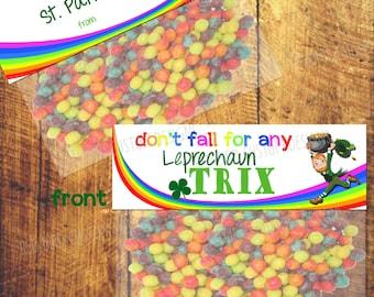 St. Patrick's Day Favor Printable (St. Patricks Day Party, DIY, Instant Download, Color, Rainbow, School, Trix, Leprechaun)