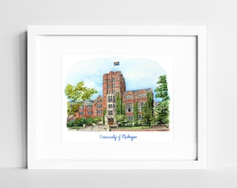 Michigan Wolverines Watercolor Print | University of Michigan Wall Art | Ann Arbor MI | Graduation Gift