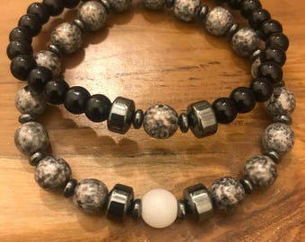 Slate Gray and black Bracelet