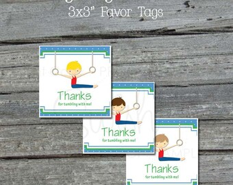 Boys Gymnastics Favor Tags - Printable  3x3 Favor Toppers  Blue and Green  NONPERSONALIZED - INSTANT DOWNLOAD