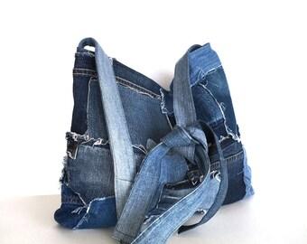 School tote bag, Recycled tote, Jean school bag, Denim cross body bag,Up cycled shoulder bag,Blue jean purse,Large shoulder bag,Teens purse