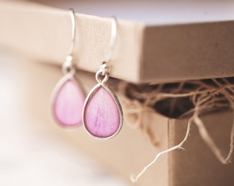 Light pink drop earrings, Gift for mom Pink earrings, Pink silver earrings, Pink teardrop earrings, Peony earrings, Silver Teardrop earrings