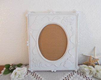 Large White Wedding Shabby Chic Oval Picture Frame Upcycled Vintage Photo Decoration Country Cottage Southern Farm House Home Decor Gift Her