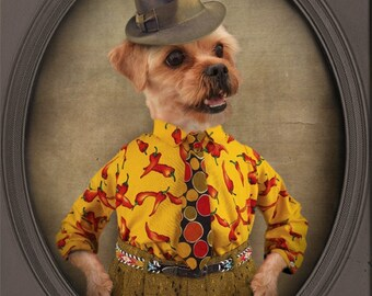 Yorkie Art Shorkie Shih Tzu Dog Art Funny Dog Artwork Pet Portrait Dog Print Animal Photography Print - Little Man Marcello