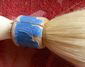 VINTAGE SHAVING BRUSH, large, painted wood, chippy, shabby chic, man  cave, bristles,  beard, whiskers
