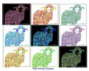 Rams Art, Ram, Lamb, Lambs, Purple Rams, Green Rams, Yellow Rams, Rams Print, 9 Rams: A fiber artist's dream