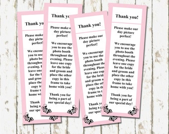 Digital Photo Booth Thank You Favors in Pink and White