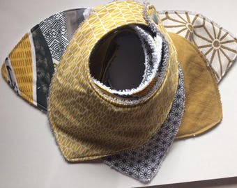 set of 5 bibs bandanas grey and mustard yellow