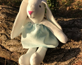 The tiny Bunny - stuffed bunny. Easter Bunny, Rag Bunny, Soft Bunny, Boy Bunny, Boys First Birthday Gift, Boys Christening Gift