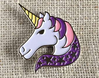 Unicorn Enamel Lapel Pin / Cute Purple + Pink Unicorn Pin / Flair / Unicorn Stars / Soft Enamel Pin / Illustrated Unicorn Pin / Gift for Her