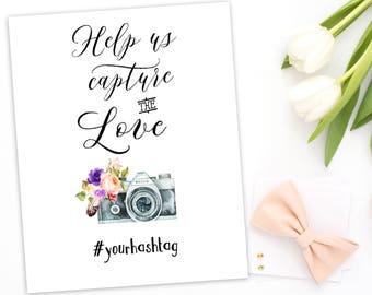 Wedding Instagram Hashtag Sign Printable Instagram Hashtag Sign Help us capture the love Rustic Hashtag Sign Custom Hashtag Sign idwr4