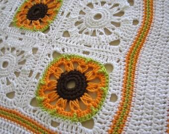 Crochet Broomstick Granny Square PDF ePattern, Sunflower for Afghan