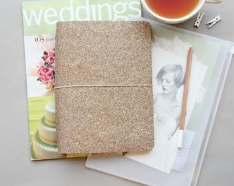 A5 Travelers Notebook Cover, Fauxdori A5 Cover, Rose Gold Glitter, Travelers Notebook A5 Fauxdori Cahier Inserts, Quad Binding A5 Inserts