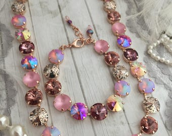 Yes Way Rosé 12MM Swarovski Crystal Eternity Style Necklace. Rose Gold Mixed Pink Crystal Choker Necklace. Blush Bridal Necklace
