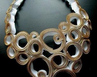 Racing Heart Gold Zipper Necklace