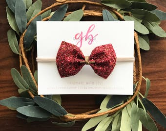 Red Glitter Bow, Valentine's Baby Bow, Baby Headband, Nylon Band, Soft Hair Bow, Red & Gold Glitter