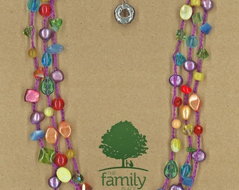 JewelryOs® Necklace-Rainbow Fiesta Crochet-Giving Back-Vermont Craft-The Family Place-Gift For Mom-Sister-Girlfriend Gift-Not for Profit