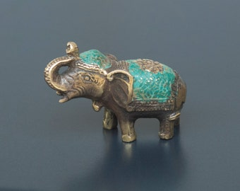 Antique Brass Mini Lucky Elephant Statue - Feng Shui Elephant Sculpture - Good Luck Statue - Protection - Home Decor -Small Bedroom Decor