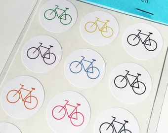 """Colorful Bicycle 1"""" stickers (24) FREE SHIPPING"""