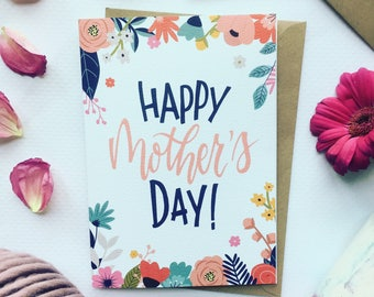 Mothers Day Card, Flowers Mothers Day Greetings Card, Colourful Mothers Day Card, Flower Moms Day Card