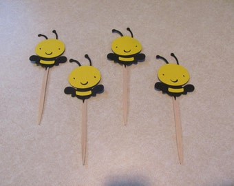 "Bee Cupcake Picks 2"" - Lot of 8 - Birthday / Shower"