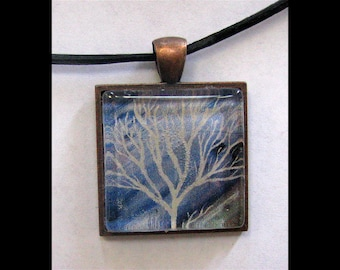 Pendant with Leather Band, Art, Jewelry, Necklace, Print, Karina Keri-Matuszak, Abstract Landscape Tree
