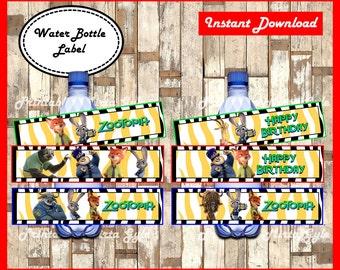 Zootopia Water Bottle Label, printable Zootopia party Water Bottle Label, Zootopia water bottle labels