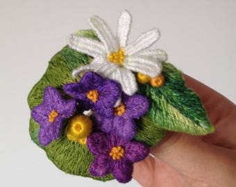 Beautiful branch embroidered brooch. Violets, white loves me not, berries and leaves. Embroidery jewelry.