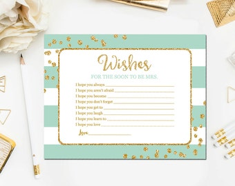 Wishes for the Soon to Be Mrs Cards Mint and Gold, Bridal Shower Wishes for the Bride, Printable Bridal Shower Wishes Instant Download BR14