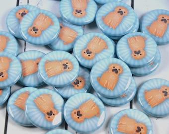 "20 Pug Pin Back Badges, 1"" Pinbacks, Dog Buttons, Pug Party Favors, Kawaii Dog Zipper Pulls"