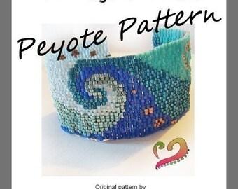 Swirl Peyote Pattern Bracelet - For Personal Use Only PDF Tutorial - Ocean Swirl Bracelet, Sea Wave bracelet, Delica beads Turorial