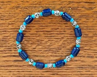 Blue Bracelet, Beaded Bracelet, Unique, Elastic  Bracelet, Stretch Bracelet, Gift Wife, Gift for Her, Handmade Bracelet, Jewelry Sale