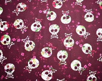 Halloween fabric, floral skulls, Skull fabric, quilting fabric, skull and crossbones, cotton fabric, fabric by the metre, sugar skull