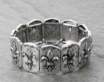 Fleur De Lis Stretch Bracelet - Silver Tone