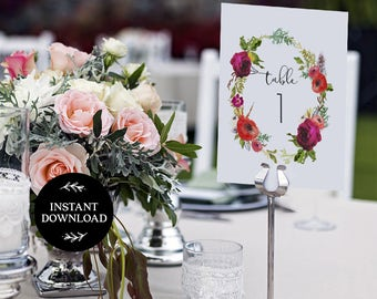 Printable Table Numbers, INSTANT DOWNLOAD, x40 Numbers 2 per page, DIY Rustic Wedding Reception, pdf, Digital File - Diana