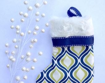 Mini Christmas Stocking- Green & Blue- Gift Card Christmas Stocking- Teacher Gifts- Co-worker gifts- Small Christmas Gifts- Gift Card Holder