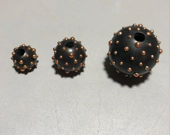 Rose Gold Plated Brass Studded Rosewood Ball Beads