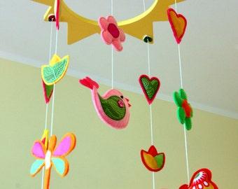 Flower mobile, Baby girl mobile, Butterfly mobile, Bird mobile, Dragonfly, Yellow, Sun, Felt mobile, Crib mobile, Nursery Decor, Bedding