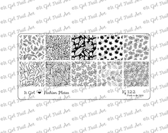 IG122 Nail Art Stamping Plate - Fall, Autumn, leaves, foliage, vine, trees