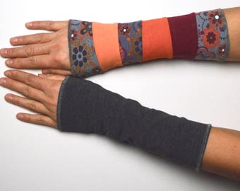 Mittens spring Arm Warmers Wrist Warmers double sided cotton flowered wine red orange gray