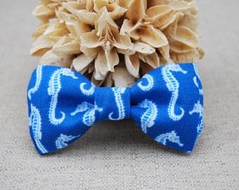 Blue Seahorse Bow tie