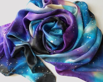 Made to Order: Galaxy Scarf - Hand Painted Silk - Wear the Universe!