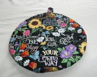 Quilted Pot Holder, Oven Hot Pad, Quilted Trivet, Sunflowers, Black Background, Round Cotton Fabric 9 Inches, Double Insulated, Cooking Gift