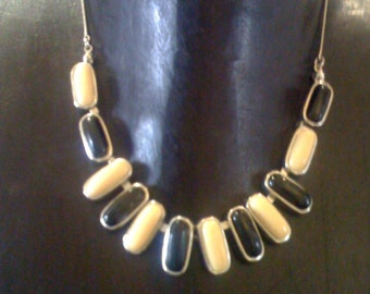 Art Deco Black & Cream Lucite Necklace/ Choker Silver Tone Metal Link Snake Chain- Signed VCLM